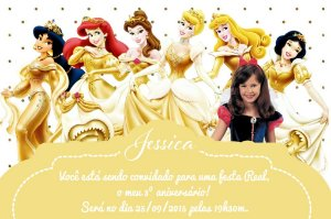 Convite digital personalizado Princesas Disney com foto 021