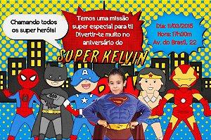 Convite digital personalizado Super Herois com foto