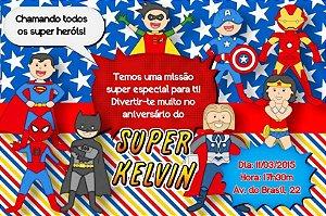 Convite digital personalizado Super Herois 003