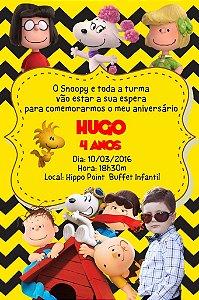 Convite digital personalizado Snoopy e Charlie Brown  com foto 009