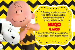 Convite digital personalizado Snoopy e Charlie Brown 005