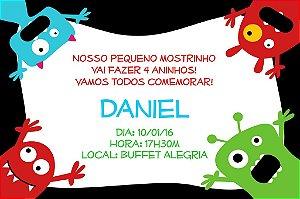 Convite digital personalizado Monstrinhos 001