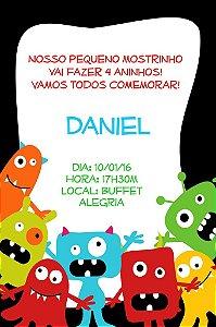 Convite digital personalizado Monstrinhos 004