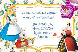 Convite digital personalizado Alice no país das maravilhas 002