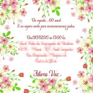 Convite digital personalizado com flores 001