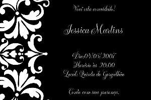Convite digital personalizado preto e branco 001