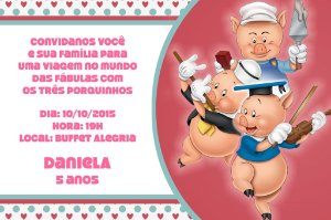 Convite digital personalizado Os Três Porquinhos 002