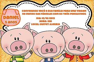 Convite digital personalizado Os Três Porquinhos 006
