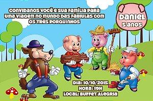 Convite digital personalizado Os Três Porquinhos 012