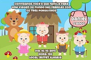 Convite digital personalizado Os Três Porquinhos 013