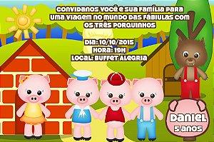 Convite digital personalizado Os Três Porquinhos 014
