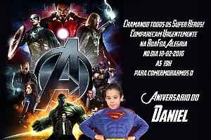 Convite digital personalizado Vingadores com foto 003