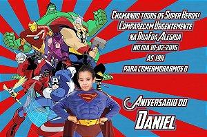 Convite digital personalizado Vingadores com foto 004