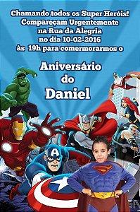 Convite digital personalizado Vingadores com foto 011