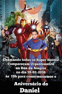Convite digital personalizado Vingadores com foto 012