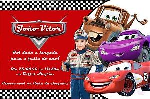 Convite digital personalizado Carros da Disney com foto 001