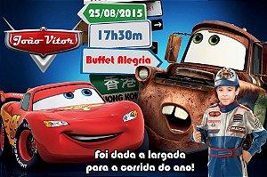 Convite digital personalizado Carros da Disney com foto 006