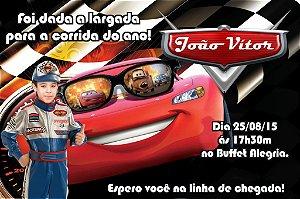 Convite digital personalizado Carros da Disney com foto 010