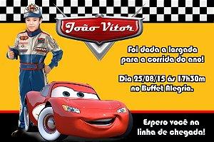 Convite digital personalizado Carros da Disney com foto 013