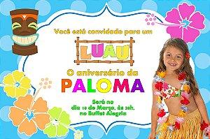 Convite digital personalizado Luau com foto 002
