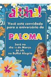 Convite digital personalizado Luau com foto 006