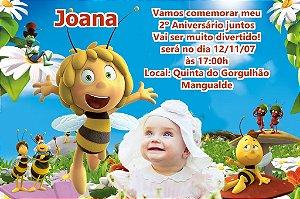 Convite digital personalizado A Abelha Maia com foto 001