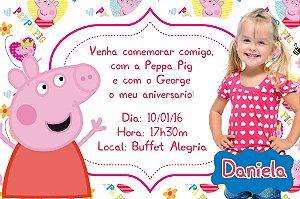 Convite digital personalizado Peppa Pig com foto 001