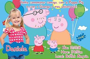 Convite digital personalizado Peppa Pig com foto 003