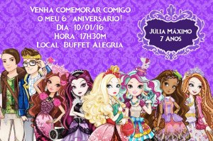 Convite digital personalizado Ever After High 003