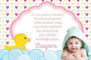 Convite digital personalizado Patinho Amarelinho com foto 002
