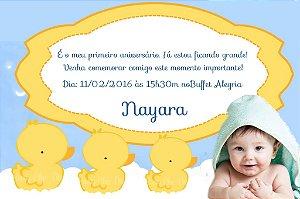 Convite digital personalizado Patinho Amarelinho com foto 006