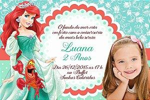 Convite digital personalizado Pequena Sereia com foto 001