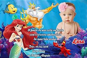 Convite digital personalizado Pequena Sereia com foto