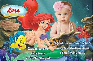 Convite digital personalizado Pequena Sereia com foto 010