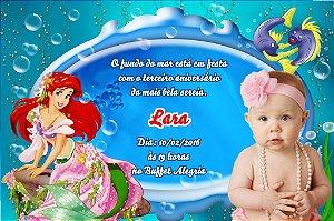 Convite digital personalizado Pequena Sereia com foto 015