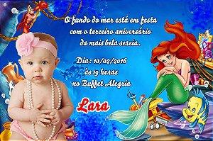 Convite digital personalizado Pequena Sereia com foto 018