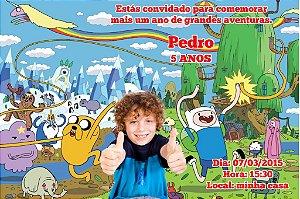 Convite digital personalizado Hora de Aventura com foto 001
