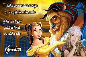 Convite digital personalizado A Bela e a Fera com foto 003