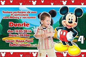 Convite digital personalizado Mickey Mouse com foto 001