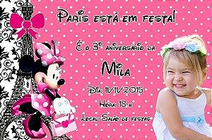Convite digital personalizado Minnie em Paris com foto 001