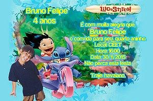 Convite digital personalizado Lilo & Stitch com foto 002