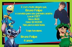 Convite digital personalizado Lilo & Stitch com foto 003
