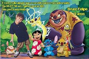 Convite digital personalizado Lilo & Stitch com foto 004