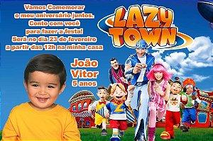 Convite digital personalizado Lazy Town com foto 002