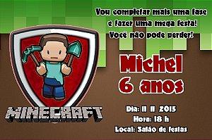 Convite digital personalizado Minecraft  001