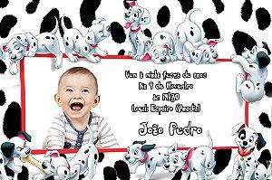 Convite digital personalizado 101 Dálmatas com foto FT002