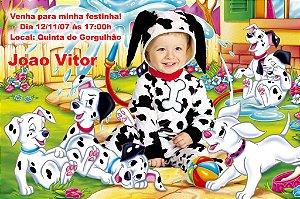 Convite digital personalizado 101 Dálmatas com foto FT009