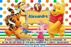 Convite digital personalizado Ursinho Pooh 001