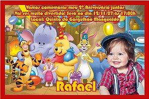Convite digital personalizado Ursinho Pooh com foto 002