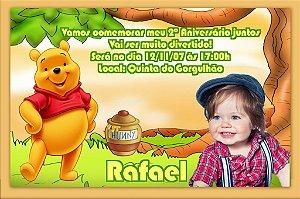 Convite digital personalizado Ursinho Pooh com foto 006
